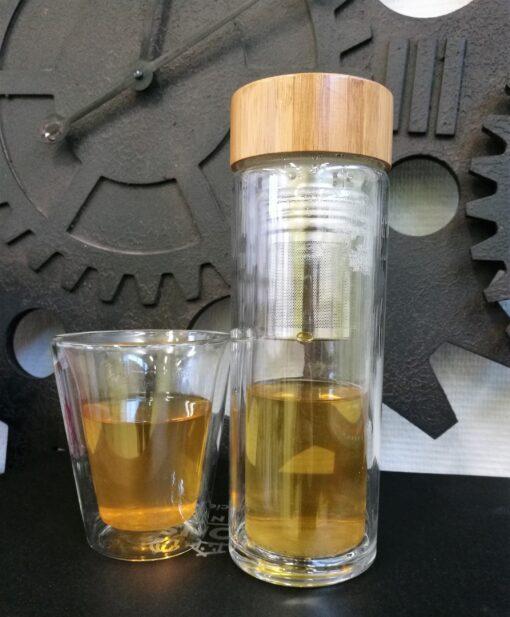 <h1>Infuseur double paroi en verre et couvercle bambou<h1>