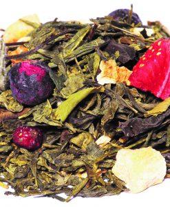 mélange de thé vert et de thé blanc, fraise et groseille. BIO